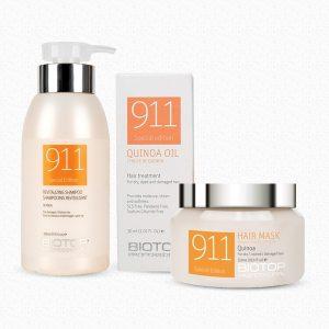 שמפו מסכה ושמן טיפולי לשיער יבש/פגום 911 BIOTOP